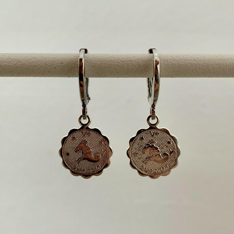 Sterrenbeeld oorbellen Steenbok zilver