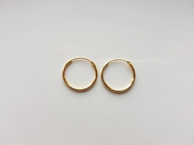 Oorringetjes 12 mm goud gold plated