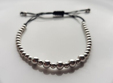 Small beads armband zilver