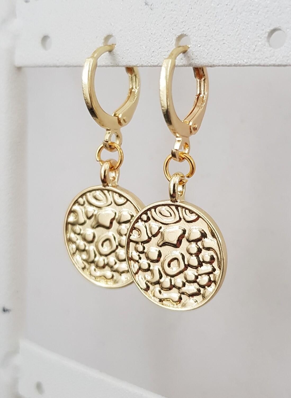 Panter print coin oorbellen goud