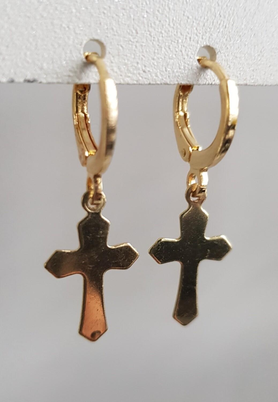 Cross oorbellen goud