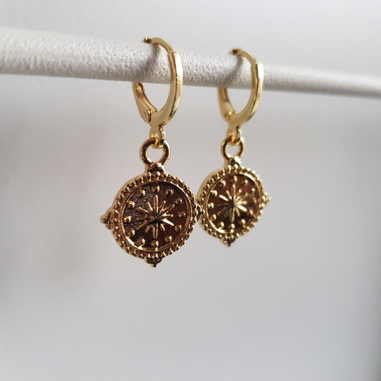 Star coin oorbellen goud