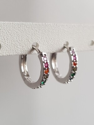 Colorful stone oorringetjes zilver 15 mm