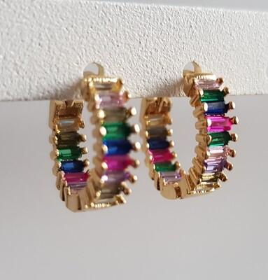 Regenboog oorbellen goud 15 mm
