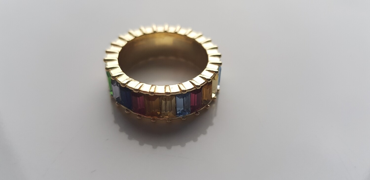 Colorful ring 925 sterling zilver/goud