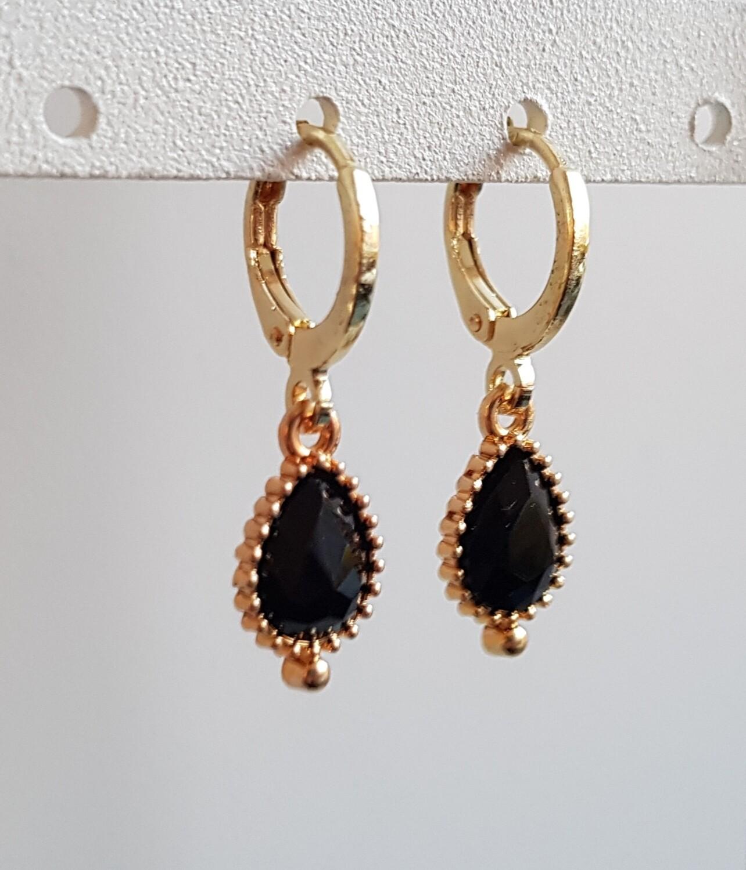 Druppel oorbellen zwarte steen goud