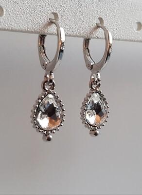 Druppel oorbellen diamant steen zilver