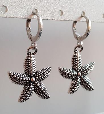 Starfish oorbellen zilver