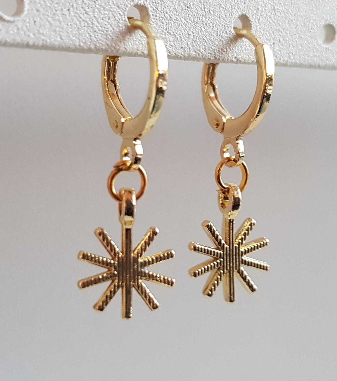 Bijzondere ster oorbellen goud