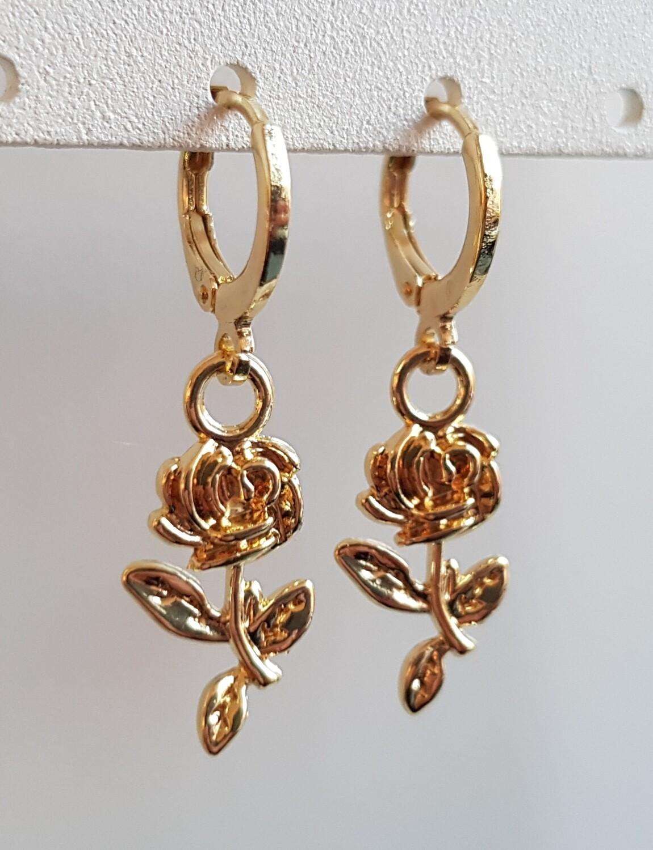 Roosjes oorbellen goud
