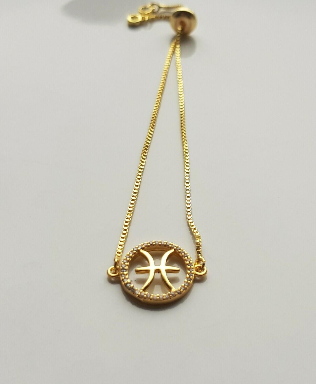 Sterrenbeeld armband met strass steentjes Goud