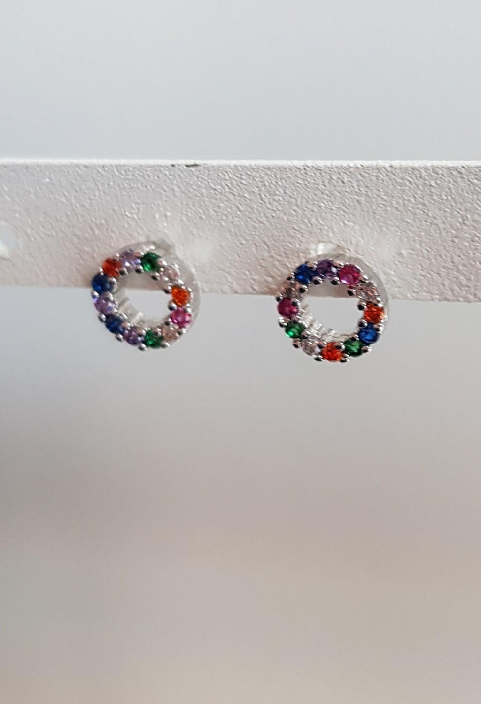 Tiny gekleurde open rondjes knopjes zilver