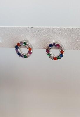 Tiny gekleurde open rondjes knopjes kleur: zilver