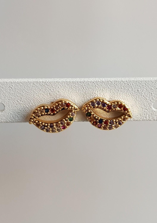 Mini gekleurde lippen knopjes goud