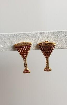 Gekleurde steentjes glas knopjes goud