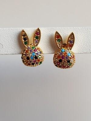 Gekleurde steentjes bunny knopjes goud