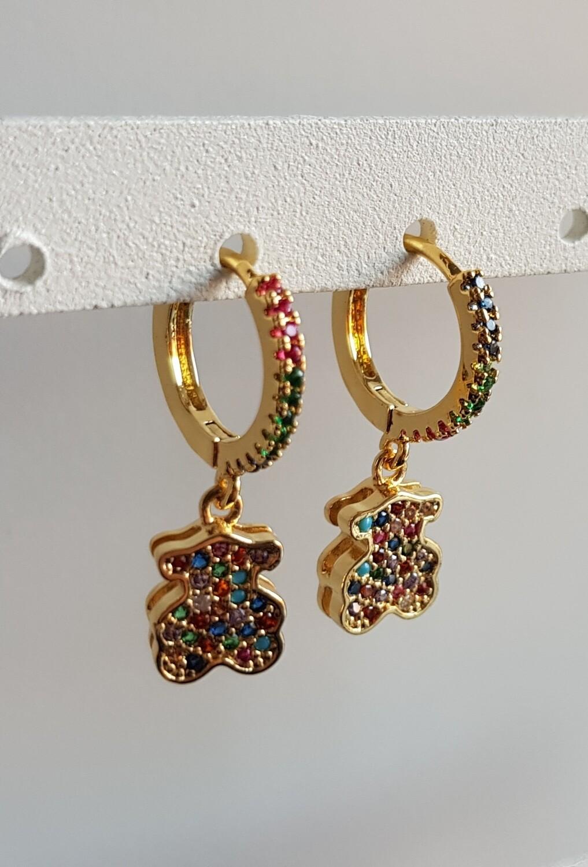 Gekleurde beertjes oorbellen goud