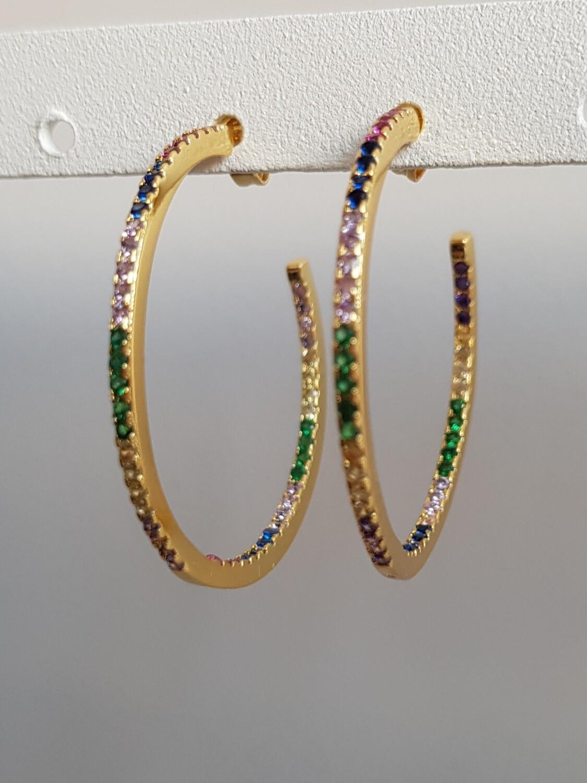 Gekleurde smalle oorringen goud