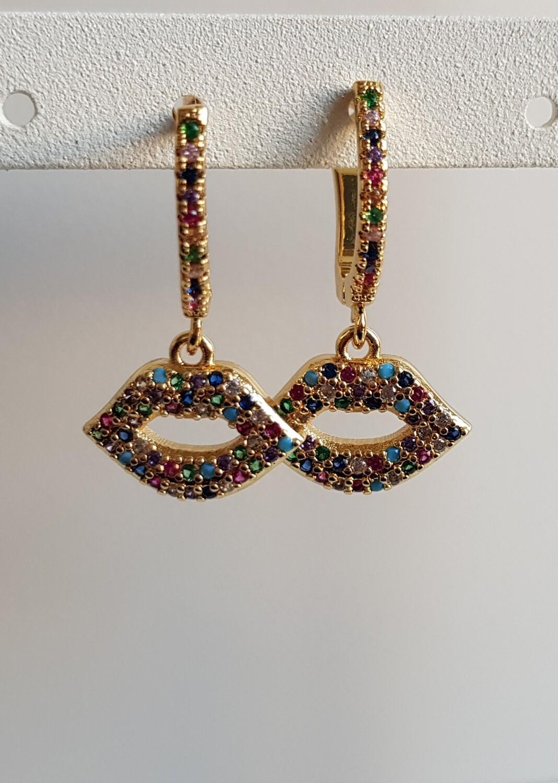 Gekleurde steentjes lippen oorbellen goud