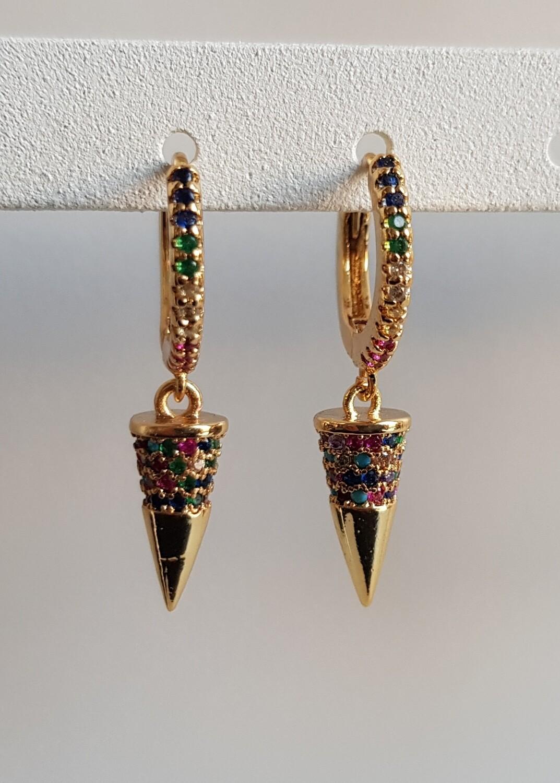 Gekleurde steentjes ijspegel oorbellen goud