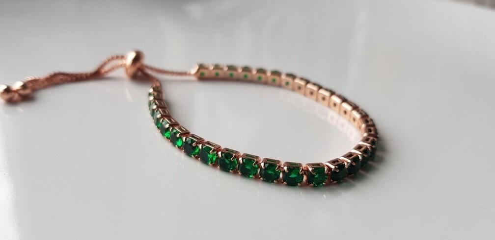 Mini strass steentjes armbandjes rosé/groen