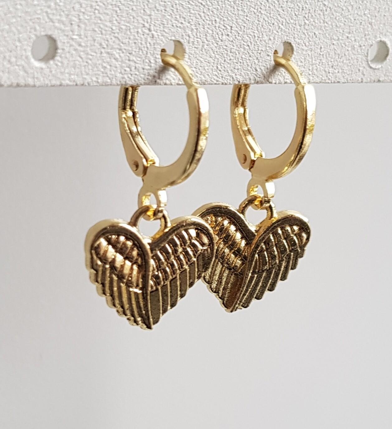 Angelwings hartje oorbellen goud