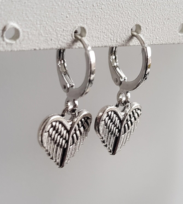Angelwings hartje oorbellen zilver
