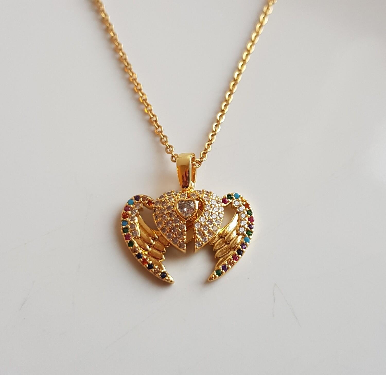 Angel wings ketting goud