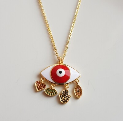 Big eye ketting goud