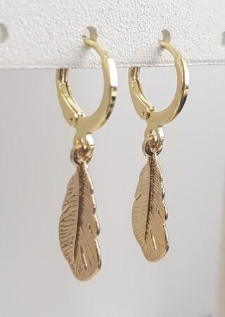 Veertjes oorbellen goud