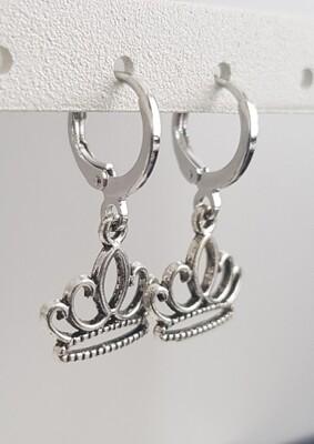 Kroontjes oorbellen zilver