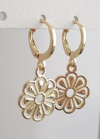Flower oorbellen goud