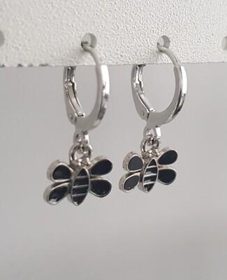 Zwarte bijtjes oorbellen zilver