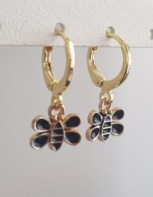 Zwarte bijtjes oorbellen goud
