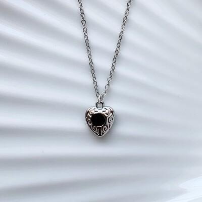 Hartjes ketting zwarte steen zilver