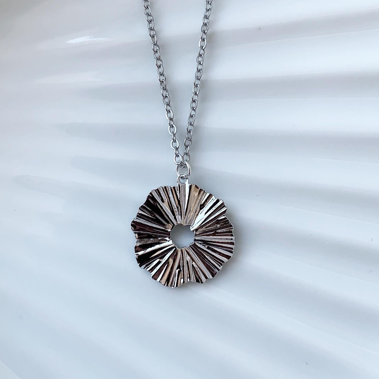 Wave ketting zilver