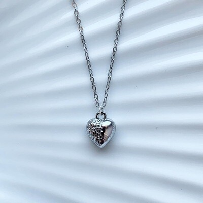 Mini 3D heart ketting zilver