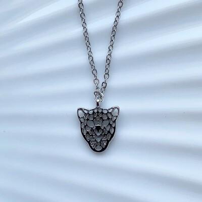 Leopard ketting zilver