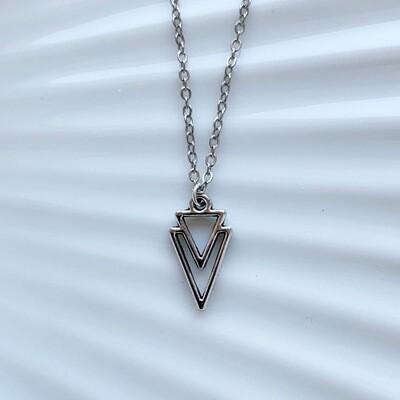 Driehoek ketting zilver