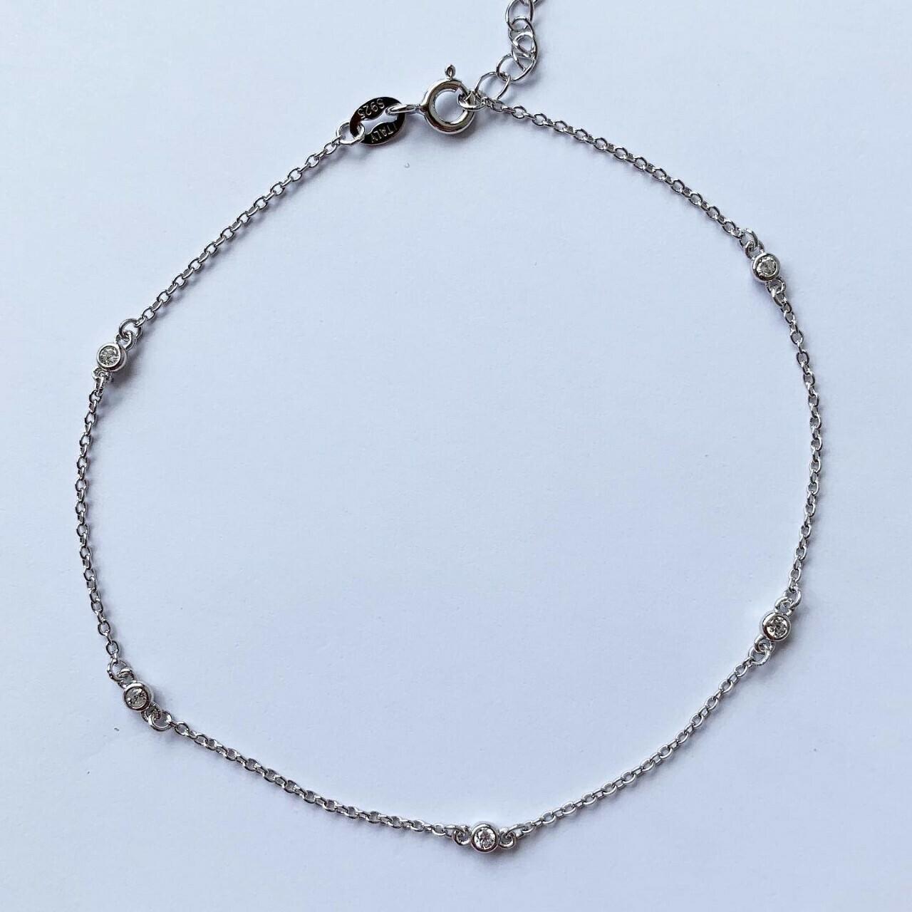 Enkelbandje met diamant tiny strass steentjes 925 sterling zilver