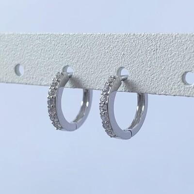 Steentjes oorringetjes diamant 925 sterling zilver