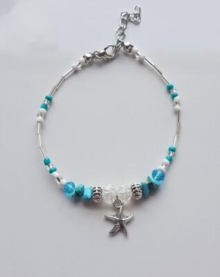 Enkelbandje met verschillende kraaltjes en zeester zilver/blauw/wit