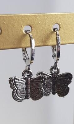 Vlinder oorbellen zilver