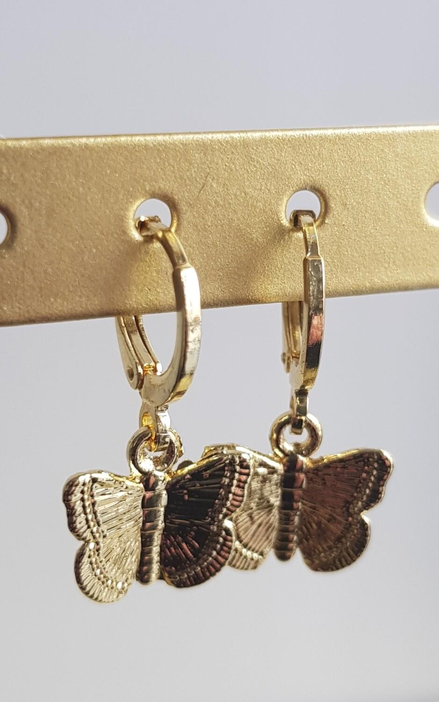 Vlinder oorbellen goud