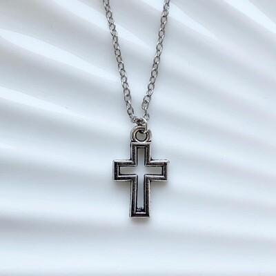 Cross in cross ketting zilver