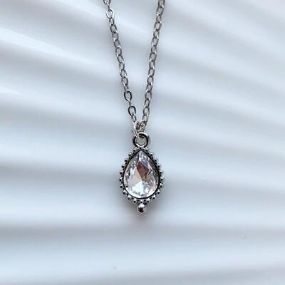 Druppel ketting diamant steen zilver