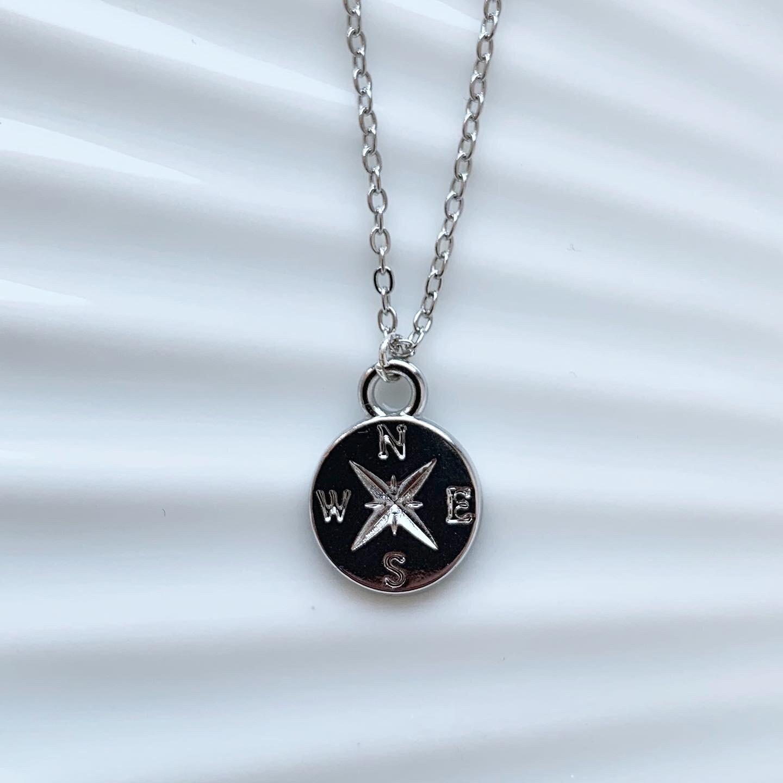 Kompas ketting zilver