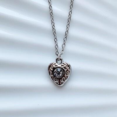 Hartjes ketting diamant steen zilver