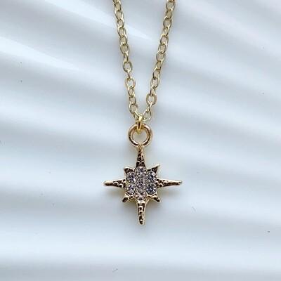 Perfect star met strass steentjes ketting goud