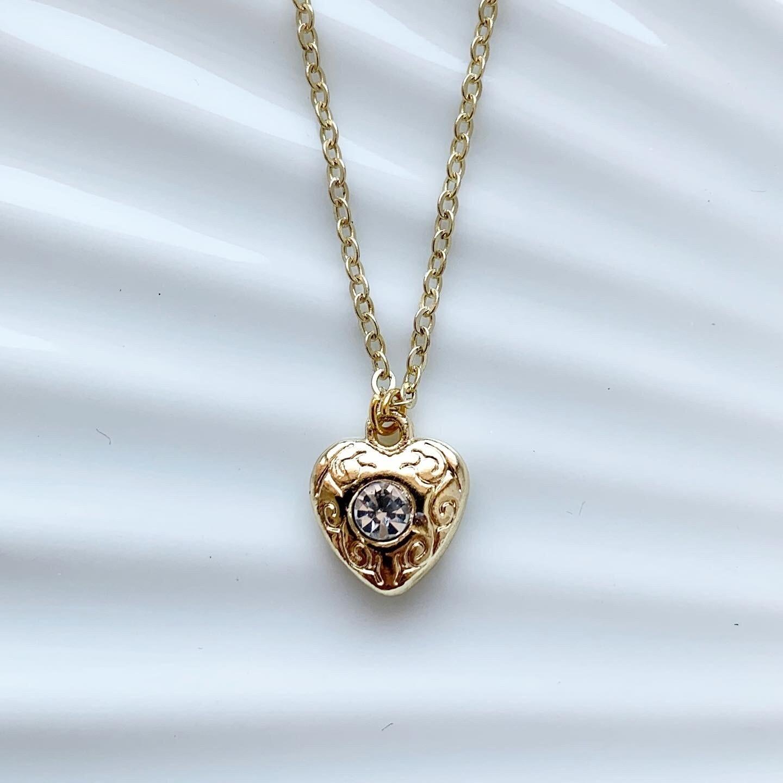 Hartjes ketting diamant steen goud